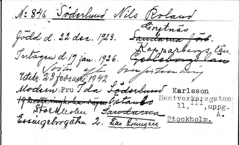 Roland Söderlunds inskrivningskort 1926.