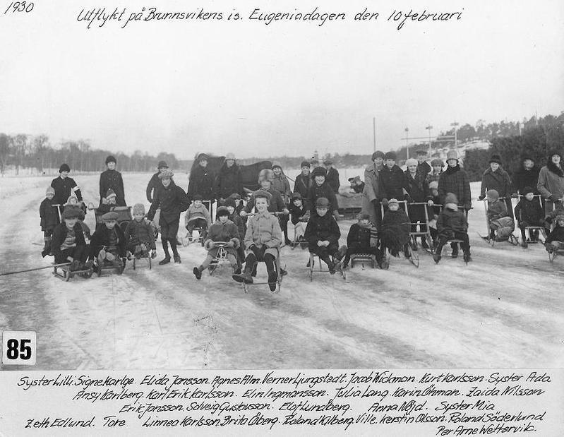 På Brunnsvikens is 1930.