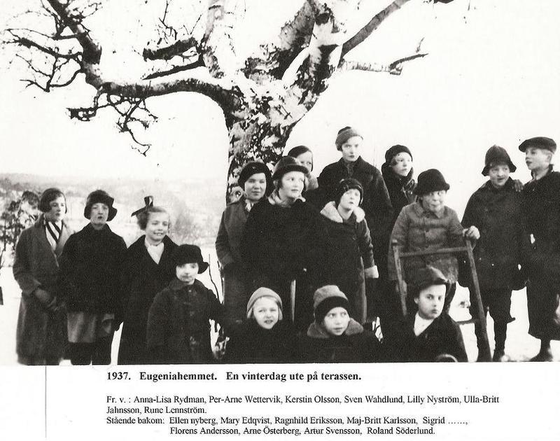 En vinterdag ute på terassen 1937.