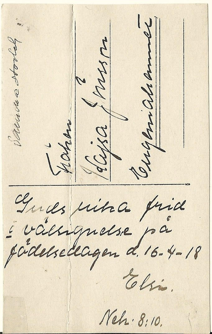 Grattiskort till fröken Kajsa Jönsson 1918. (Baksidan)