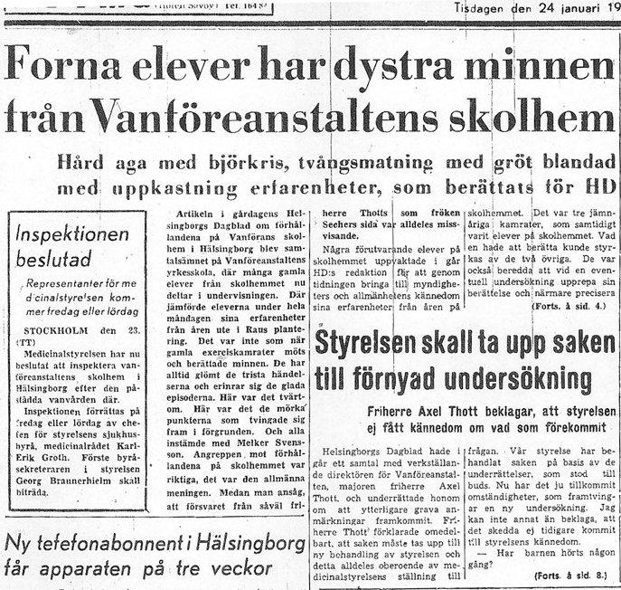 Skandalen 1950 artikel i HD 24 januari