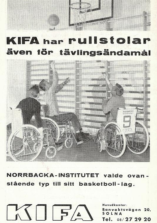 Annons om en ny basketrullstol 1963.