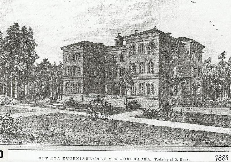 Teckning av Eugeniahemmet 1885.